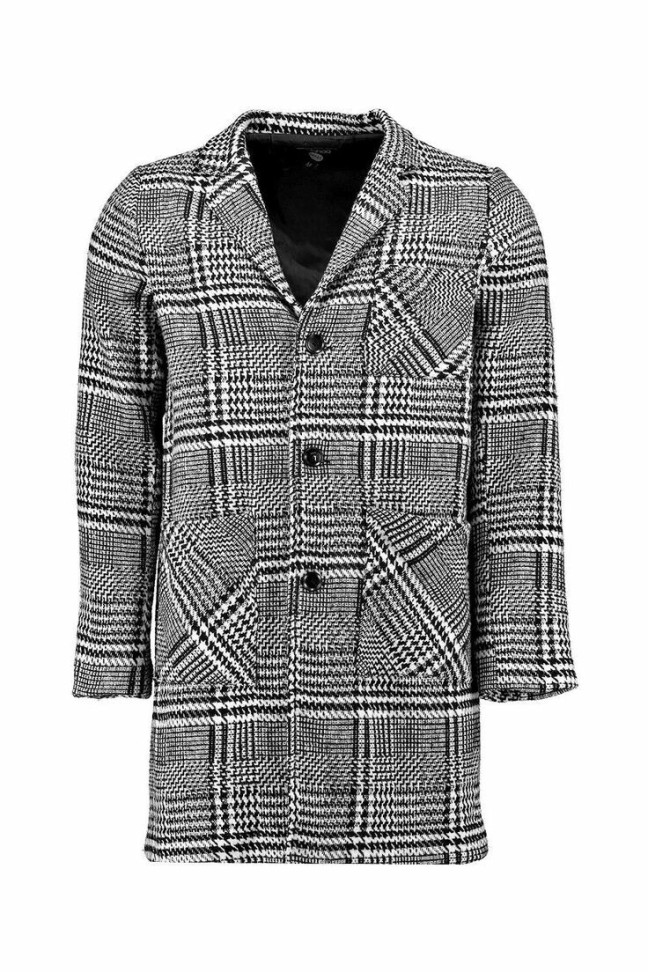 Quincy Dogtooth woven peacoat. Was £40, Now in  the sale for £22 from BooHoo man. Want to make a T-shirt work for you? Add a statement coat on top. And if at the end of the night, your date is cold, this would be the perfect coat to drape around her and still go with her outfit too.