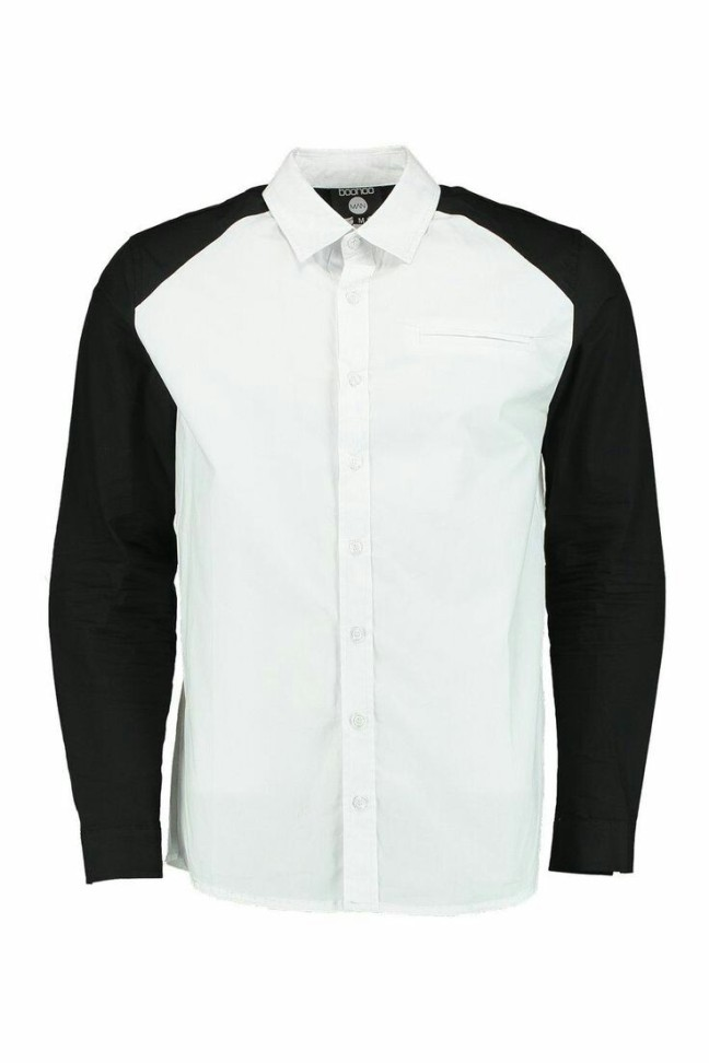 Cut & Sew Spliced Shirt. £16 from Boohoo Man. Nothing is ever just black or white, so I thought I'd give you both. Add a red jacket and Blue jeans to complete the look.