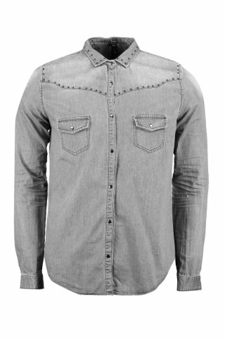 Skinny fit Denim Shirt with studs. £14 from Boohoo Man. The perfect start for a slightly edgier date look or a perfect look for going on the pull with your mates. Just add a black fedora, black distressed jeans, black Chelsea boots and a Black leather biker jacket to complete the look.