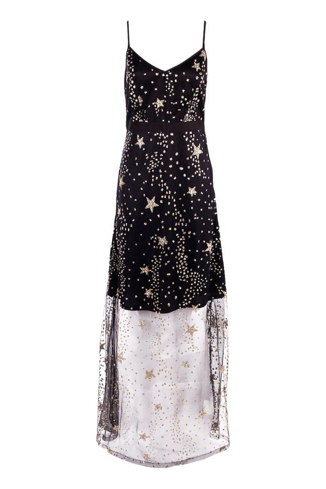 Boutique Lola Sequin Star Print Maxi Dress - £35 from Boohoo. Whether you are headed to see Lala Land or headed to a restaurant, this show-stopping maxi will be sure to leave your date starry eyed. Pair this with some simple black heels and a black leather or pea coat.