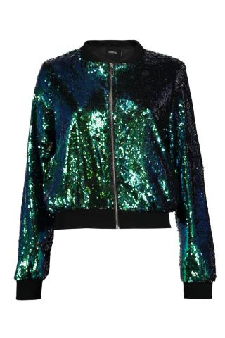 Boutique Maya Sequin Bomber with Varisty rib. £25 from Boohoo