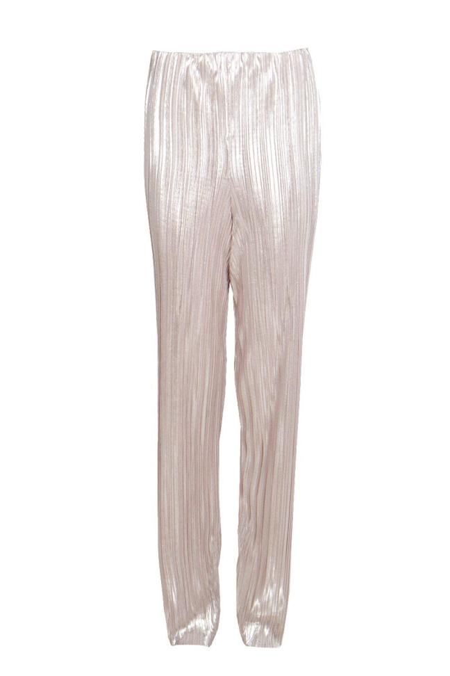 Lua Metallic Pleated Wide Leg Trousers. Only £18 from Boohoo. Put this with a simple black sleeveless crop top and a long gold chain. Stay warm with black biker jacket and black heels.